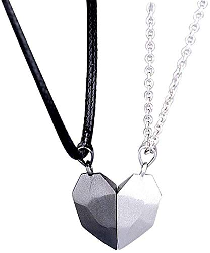 LASULEN Paar Magnetische Halskette, Magnetische Herz Halskette, passende Halsketten für Paare, Schwarz Weiß Paar Halskette, Versprechensgeschenk für Liebhaber, Paar Wunschstein Anhänger