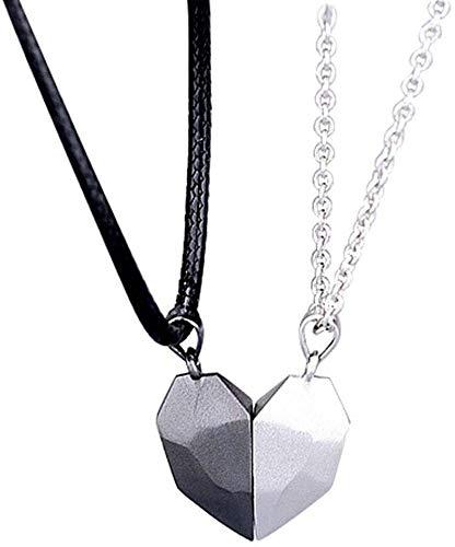 Fufuyme Paar Magnetische Halskette, Wunschstein Halskette, Magnetischer Herz Anhänger, Passende Halsketten für Paare, Best Friend Halsketten für 2, Beziehungs Halskette, Halbe Herz Halskette