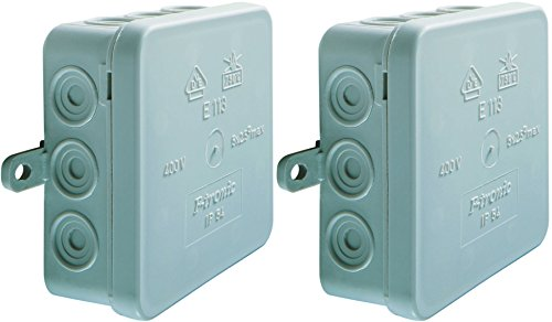 2 Stück Abzweigkasten SD12 grau AP IP54 mit Deckel 12 Einführungen 100x100x40