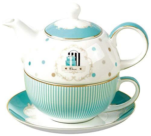 YBK Tech Euro Stil Tasse & Untertasse Set Kunst Knochen China keramisch Tee Kaffee Tasse für Frühstück Zuhause Küche (Blauen Streifen)