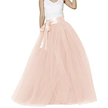 Lisong Women Floor Length Bowknot Tulle Party Evening Skirt 6 US Blush Pink