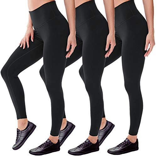 Leggings for Women - No See Through High Waisted Black Leggings Tummy Control Pants for Workout Running (3 Pack-Black, Plus Size(L-XXL))