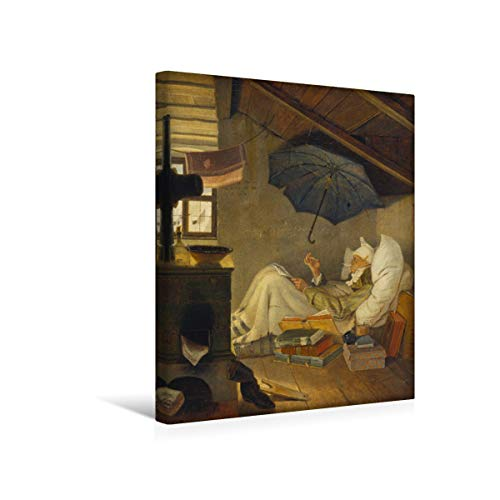 fotobar!style Premium-Leinwand 40 x 50 cm Keilrahmen, Tiefe 2 cm Carl Spitzweg - Der Arme Poet. 1839