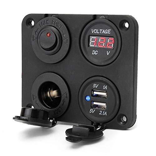 IJEOKDHDUW Adaptador Dual USB Cargador y Sockets & Digital Voltmeterr & Switch Panel