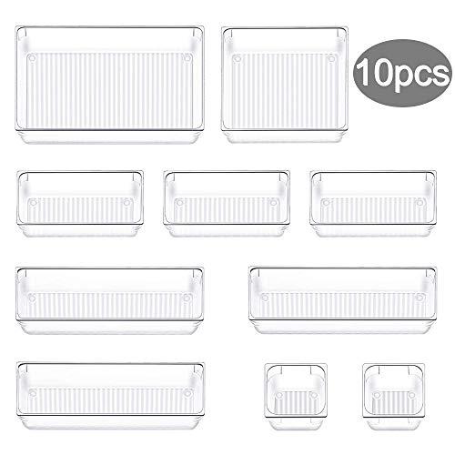 Evance 10 Cajas Organizador de Cajón Plástico, Organizadores Transparentes para Cajones, Bandejas de Maquillaje Papelería Cubiertos para Baño Cocina Oficina Escritorio (Tranparente)