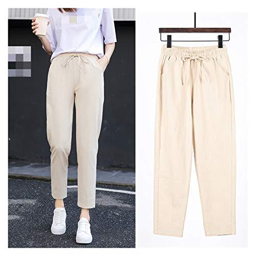 CML Damen Frühling Sommer Hosen Baumwolle Leinen Solide elastische Taille Süßigkeiten Farben Harem Hosen weiche Hohe Qualität for weibliche Ladys S-XXL (Color : Beige, Size : L)