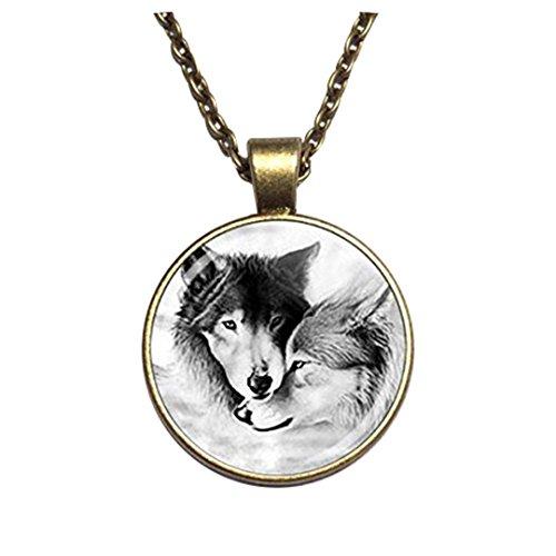Collar con colgante de lobo para pareja de lobos de lealtad lobos collar de cabujón de cristal