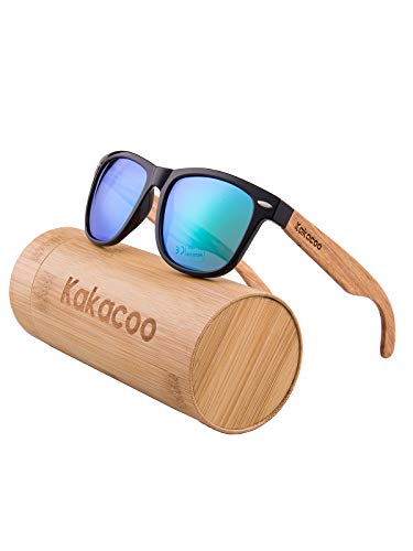 nobrand Holz Sonnenbrille für Herren Damen/Polarisierte Sonnenbrille mit UV-Schutz/Sonnenbrille mit Holzbügeln (Blau)