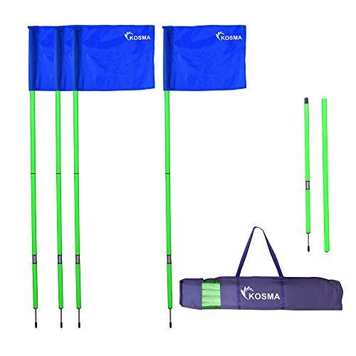 Kosma Faltbare Eckfahnen mit Befestigungsspieß und Feder, grüner Mast, 1,5 m x 25 mm, mit blauen Flaggen und Tragetasche, 4 Stück