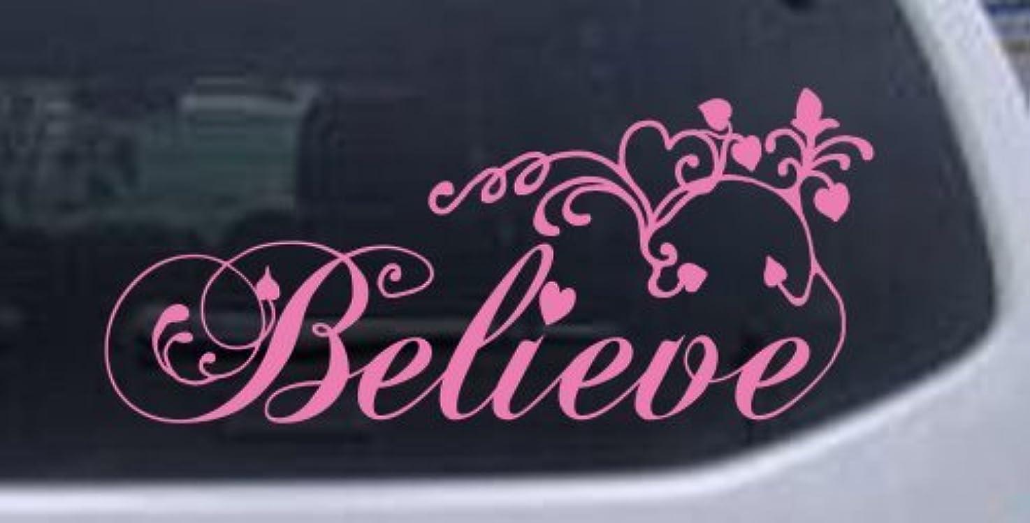 Believe Christian Car Window Wall Laptop Decal Sticker -- Pink 5in X 11.4in