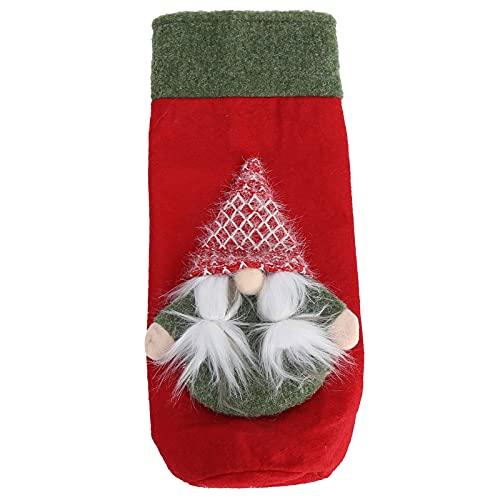 Coperchio per bottiglia di vino, Natale Babbo Natale Copri bottiglia di vino Decor Decorazione per la tavola di casa Dimensioni standard per la decorazione della tavola(Braids)