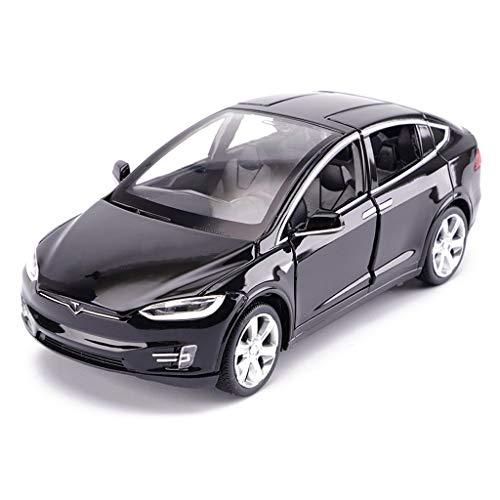 LBYMYB Modellauto Tesla X Geländewagen 1:32 Simulation Druckgusslegierung Spielzeugauto-Modell Dekoration 15x5.5x4.5CM (Color : Black)