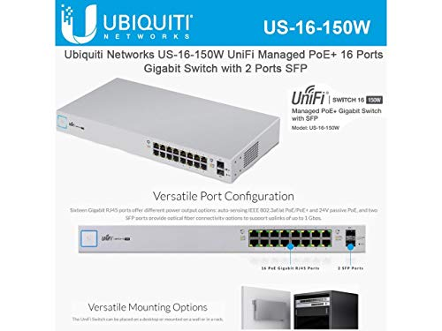 "Ubiquiti US-16-150W Networks Networks UniFi Switch, 16 Port,White 4 The UniFi Switch delivers the forwarding capacity to simultaneously process traffic on all ports at line rate without any packet loss | Up to 3 fan levels Product dimensions – 17.44"" L x 8.70"" W x 1.69"" H 