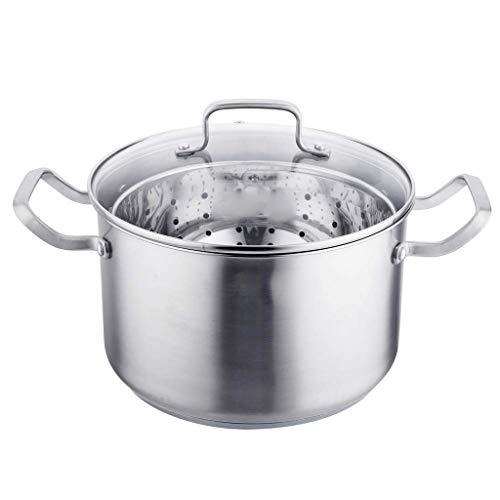 SCRFF Cocer al Vapor Sopa de Pot-Cubierto de Acero Inoxidable Olla, Base de inducción Utensilios de Cocina, Apto for lavavajillas Sopa de Olla