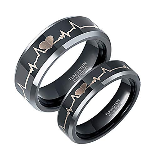 Greenpod 6mm EKG Heartbeat Rings for Couples Tungsten Carbide Ring for Men Women Wedding Band Black Comfort Fit Size 8