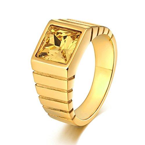 KnSam Anillo para hombre, anillo para hombre, cuadrado de acero inoxidable, anillo de sello para hombre, con circonita amarillo, con grabado gratuito, Acero inoxidable, Circonita cúbica.,