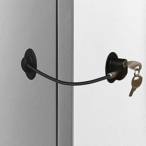 Homy Bloqueo de frigorífico, cerradura para puerta de congelador, bloqueo de armario fuerte adhesivo, ventana/cable de restricción de puerta, dispositivo de seguridad para bebé/niño blanco …