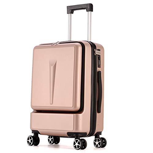 KQATCJ Ligero 24 Pulgadas de Bolsillo Frontal rodante Trolley Caja de contraseña 20 'Boarding Maleta Maleta Bolsa de Viaje Tronco para Salir por Negocios (Color : Gold, Luggage Size : 20')