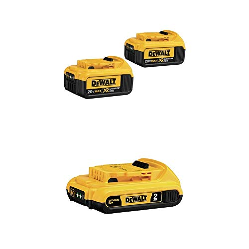 DEWALT 20V MAX XR Battery, 4.0Ah, 2-Pack with Extra 2.0Ah Battery (DCB204-2 & DCB203)