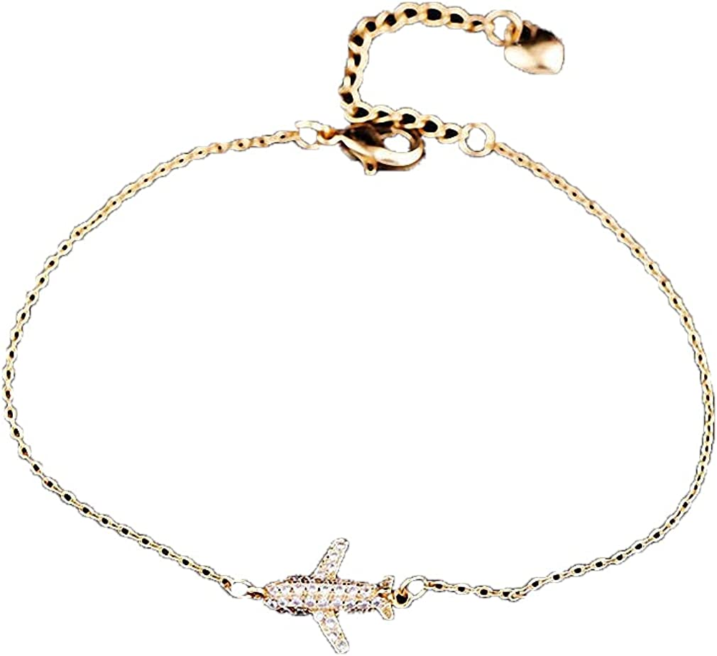 Barsly Aircraft Airplane Plane Bracelet Cubic Zircon Crystal Adjustable Link Chain for Women Girl Cute Charm 925 Jewelry Gift