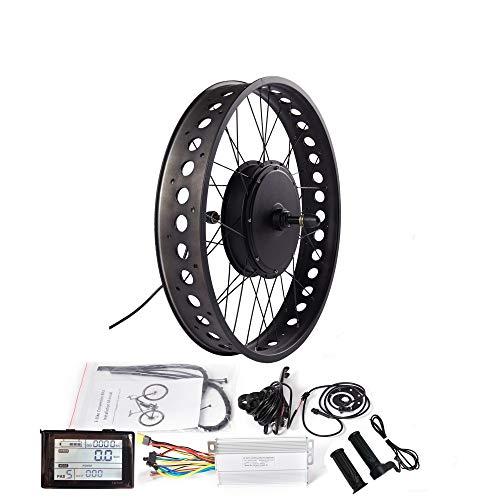 """LOLTRA 26"""" Fat Tire Ebike Rear Wheel Conversion Kit, 48V 1000W 1500W Fat Wheel Rear Drive Hub Motor Electric Bicycle Conversion Kit for 4.0 Tire Snow Bicycle"""