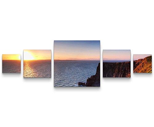 Paul Sinus Art Cliffs of Moher – SonnenuntergangLeinwandbild 5 teilig (160x50cm)