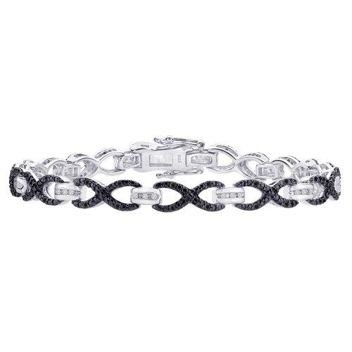 Schwarz und Weiß Diamant Link Armband In Sterling Silber (3/8cttw