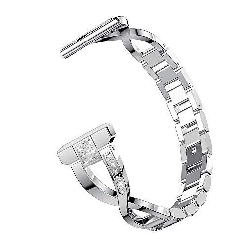 Armband Kompatibel mit Fossil Q Smartwatch Band 22 MM Kompatibel mit Fossil Gen 4 Gen 3 Explorist HR/Fossil Q Wander Fo&er Gen 2 Gen 1/Fossil Gen 5 Armbänder Metall Ersatzarmand Damen Band (Silber)