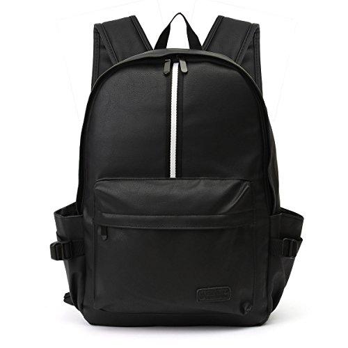 Tutoy Pu-Leder Mann-Frauen-Laptop-Spielraum-Rucksack Kampierender Schule-Schultaschen-Schulter-Rucksack - Schwarzes