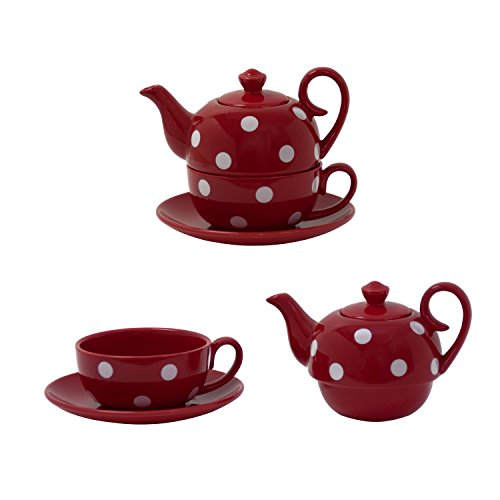 Jameson & Taylor Tea for one 5659 - Servizio da tè per una persona, con teiera, coperchio, tazza e piattino, in ceramica leggera, colore: Rosso scuro con grandi pois