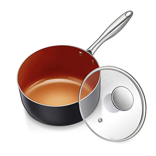 MICHELANGELO 3 Quart Saucepan with Lid, Ultra Nonstick Coppper Sauce Pan with Lid, Small Pot with Lid, Ceramic Nonstick Saucepan 3 quart, Small Sauce Pot, Copper Pot 3 Qt, Ceramic Sauce Pan 3 Quart Chefs Copper Sauce Pan