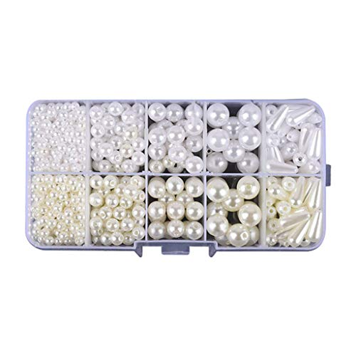 MIKI-Z Perlas Perlas con Agujeros Blanco Marfil ABS Plastic Loose Beads Kit para DIY Joyería