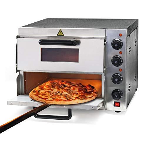 Horno para pizzas con 2 niveles 3000W Acero inoxidable Ladrillo refractario Accesorios de cocina