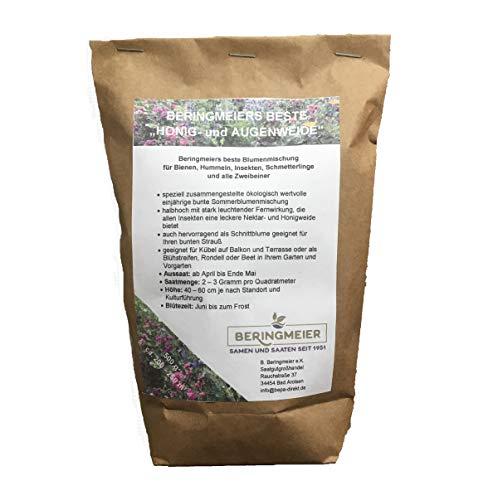 BERINGMEIERS BESTE | HONIG- und AUGENWEIDE | Bienenwiese | Blumenwiese | Blumen Saatgut für ca 125m² | 250 Gramm
