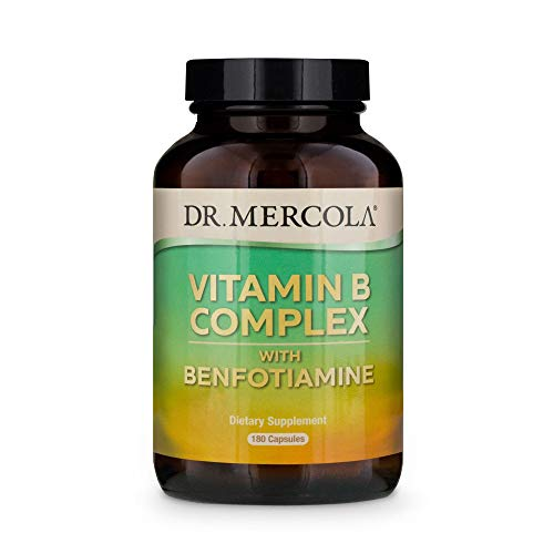Dr. Mercola Vitamin B Complex with Benfotiamine Dietary Supplement, 90 Servings (180 Capsules), Non GMO, Soy Free, Gluten Free