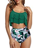 Tempt Me Women Ruffle High Waisted Bikini Green Leaf Two Piece Swimsuits Ruched Bathing Suit XL