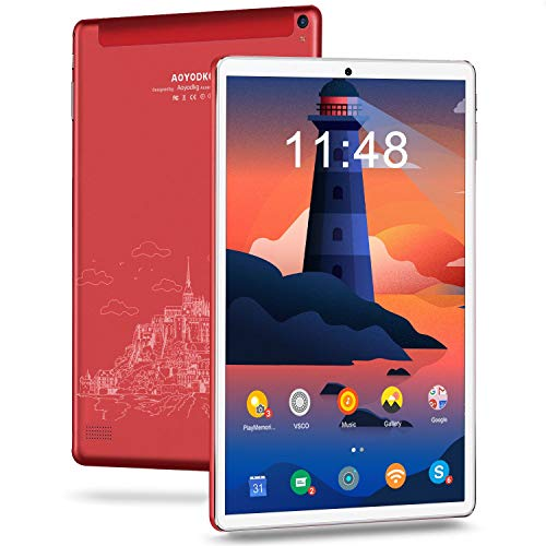 Android 10.0 Tablets 10 Inch Tablet Pc,4GB RAM,64GB ROM Storage,Quad-core Processor,2.4G/5G WiFi,5MP Rear Camera, 6000mAh Battery Life,Bluetooth,Google GMS Certified(Red)