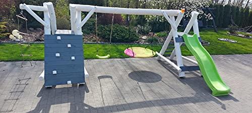 PREMIUM Holz Spielturm mit Kletterturm 2x Schaukel 1x Rutsche Garten Spielhaus OSKAR 2