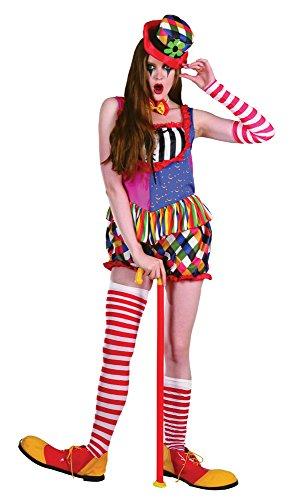 Bristol Novelty AC210 Déguisement Femme Clown Arc-en-Ciel, Multicolore, UK 10-14