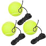 sylbx Pelota de Tenis con Cuerda,3pcs Pelota de Rebote Entrenamiento Tenis,Entrenador Pelota Tenis con Goma Elastica,para Principiantes Niños Adultos Solo Práctica en Interiores al Aire Libre