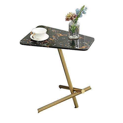 DGHJK Möbel Couchtisch, Sofa Beistelltisch, Seite/Snack/Ende/Couch/Konsolentisch mit Marmortischplatte, Laptop-Schreibtisch für Wohnzimmer, Esszimmer, Schlafzimmer (Farbe: Gold) (Farbe: Schwarz)