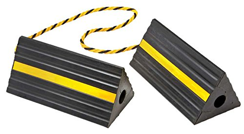 Industrial Rubber Wheel Chock Blocks with Rope 9.6' Wide, 5' High by BUNKERWALL BW3431