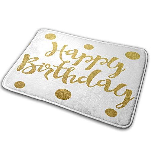MEJX Antideslizante Suave Alfombra de Baño,Cumpleaños, Escritura a Mano, Saludo,Micro Personalizado Decoración del Hogar Baño Alfombra de Piso,75 x 45 CM