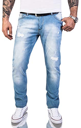 Rock Creek Herren Jeans Hose Regular Slim Stretch Jeans Herrenjeans Herrenhose Denim Stonewashed Basic Stretchhose Raw RC-2144 Hellblau W32 L34