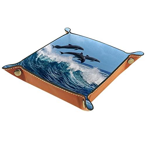 Bandeja de dados, plegable de cuero para dados, para juegos de dados, D&D y otros juegos de mesa, Dolphin Sea Ocean