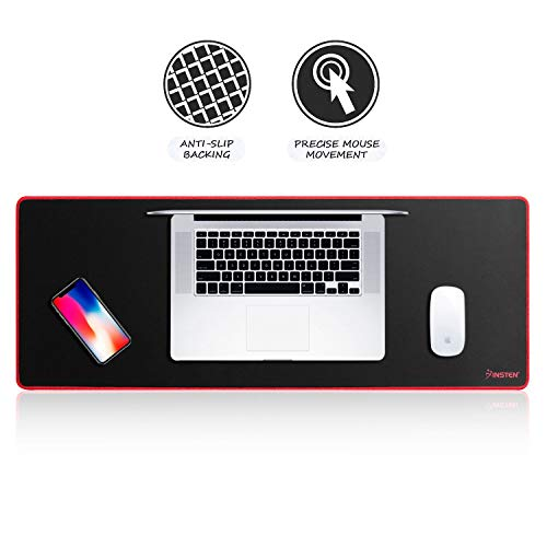 Insten Extra Large Mouse Pad, Extended Gaming Mouse Pad XL XXL for Desktop, Non-Slip Base, Silky Smooth Surface, Durable Stitched Edges - 31.5' X 12', Black/Red