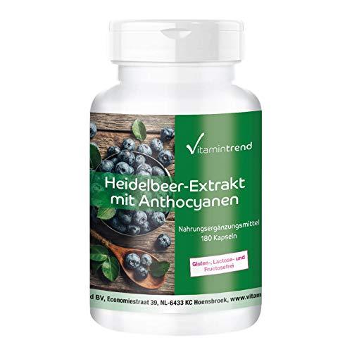 Heidelbeer Extrakt Kapseln - mit 25% Anthocyanen - hochdosiert - vegan - 180 Kapseln