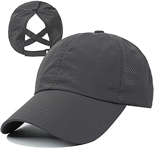 HGGE Womens Criss Cross Ponytail Baseball Cap Adjustable High Messy Bun Ponycap Trucker Hats Quick Drying Mesh Dad Hat for Outdoor Sports Travel Dark Grey