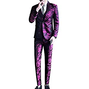 MOGU Mens Three Piece Skinny Printed Tuxedo Wedding Party Suits