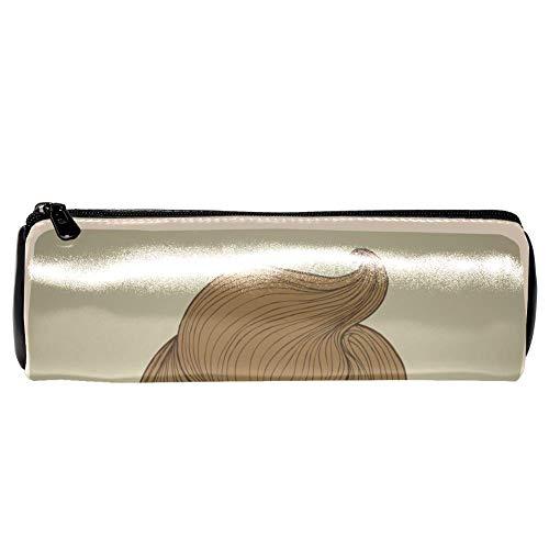 EZIOLY Chic Haarschnitt mit Brille Löwe Hochformat Leder Stifteetui Münztasche Kosmetiktasche Make-up-Tasche für Schule Arbeit Büro